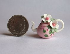 Handmade Miniature  PINK TEAPOT WITH FLOWER BLOSSOMS -  OOAK C. Rohal #CRohal