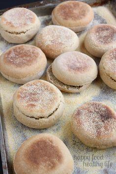 Homemade Whole Wheat English Muffins - www.happyfoodhealthylife.com