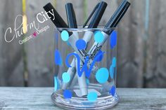 Personalized Pen and Pencil Holder or Make-up Brush Holder by ahindle78 on Etsy https://www.etsy.com/listing/201075636/personalized-pen-and-pencil-holder-or