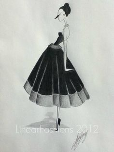 christian dior dresses 1950s | 1950s Party Dress Christian Dior Style Fashion Art