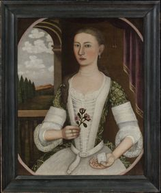 1740 portrait of Annetje Kool, a young Dutch-American woman painted by Pieter Vanderlyn in the mid-Hudson Valley town of Esopus