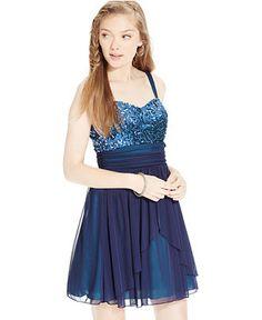 Speechless Juniors' Sequin-Embellished Chiffon Party Dress - Juniors Dresses - Macy's