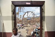 View from the National school of Labeyi, that was destroyed by Hurricane Matthew, in the commune of Chadonyer, in Les Cayes, in the southwest of Haiti, on Oct. 16, 2016.