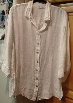 Soft Surrounding White  3/4 Sleeve 100% Linen Tunic Button Down Shirt X-Large #SoftSurroundings #Tunic #Casual