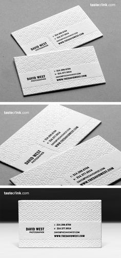 Designer: David West Photography Business Card  I like this card is printed on a 100% renewable resource of cotton.  Its made using black ink and blind deboss