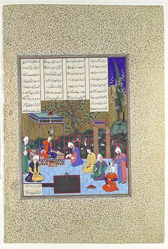 """Nushirvan Promulgates His Reforms"", Folio from the Shahnama (Book of Kings) of Shah Tahmasp Artist: Painting attributed to Muzaffar 'Ali (active late 1520s–70s; d. ca. 1576) Date: ca. 1530–35 Geography: Iran, Tabriz Medium: Opaque watercolor, ink, silver, and gold on paper Dimensions: Painting: H. 10 5/8 x W. 8 1/8 in. (H. 27 x W. 20.6 cm) Entire Page: H. 18 5/8 x W. 12 1/2 in. (H. 47.3 x W. 31.8 cm) Metropolitan Museum of Art 1970.301.68"