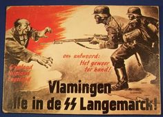 "German To Flemish speaking Belgians, urging them to join the SS Langemarck Division. ""Our answer: Pick up your arms and fight!"" The soldiers are attacking England, personified by a Jew with the Union Jack. Nazi Propaganda, Luftwaffe, History Of Germany, Ww2 Posters, German Army, Illustrations And Posters, World War Two, Cartoon Styles, Vintage Ads"