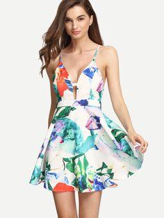 Vestido floral tirante fino espalda cruzada -multicolor
