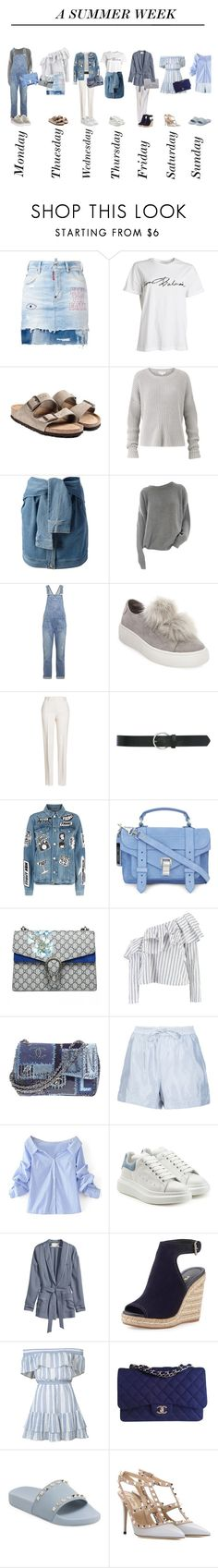 """A summer week"" by sascha-haarup on Polyvore featuring Dsquared2, Birkenstock, Amanda Wakeley, DKNY, Current/Elliott, Steve Madden, Jil Sander, M&Co, Frame and Proenza Schouler"