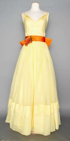 Cotton Eyelet Summer Gown, 1950s, Augusta Auctions, April 9, 2014 - NYC, Lot 307