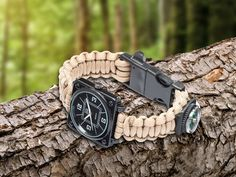 SurvivalWATCH is a unique survival accessory with an emergency whistle, a fire starter with flint rod and scraper, 12+ ft of paracord, a watch, + a COMPASS!