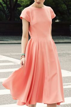 Midi dress featuring crew neck and short sleeves simple dresses, pretty dre Modest Dresses, Simple Dresses, Pretty Dresses, Beautiful Dresses, Prom Dresses, Midi Dresses, Peach Dresses, Simple Dress Casual, Beautiful Lines