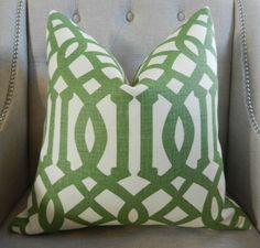 """Decorative Designer Pillow Cover - 20""""X20"""" - KW collection for Schumacher - Imperial Trellis II in Treillage / Ivory. $90.00, via Etsy."""