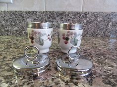 2 Royal Worcester egg coddling cups with screw on metal lids-raspberry design, good condition, functional by HeathersCollectibles on Etsy