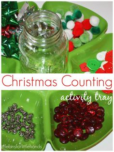 This simple Christmas math activity tray is a great hands-on activity for practicing one to one counting up to Christmas Math, Christmas Crafts For Kids To Make, Christmas Activities For Kids, Preschool Christmas, Simple Christmas, Christmas Ideas, Christmas 2017, Preschool Science Activities, Nursery Activities