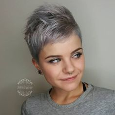 Extra Short Gray Pixie