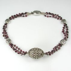 Garnet and Sterling Silver Multi-Strand Necklace