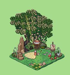 Pixel art - little nature creativity corner - pixelart Minecraft Pixel Art, Minecraft Buildings, Habbo Hotel, Pixel Art Background, Pixel Art Games, Cross Stitch Charts, Woodblock Print, Drawing Reference, Art Tutorials