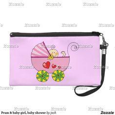 Pram & baby girl, baby shower wristlet purse