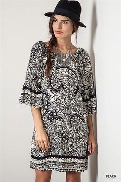 Paisley Day Dress Boho Chic Tunic Slouchy Bohemian Clothing Black Hippie Small #UrbanPeopleClothing #Tunic #Casual