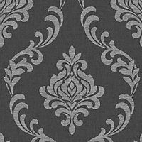 Fine Decor Torino Damask Wallpaper - Black