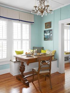 I want to move into this house! We have a very similar antique trestle table | Dining Area - A Small Space With Big Style on HGTV