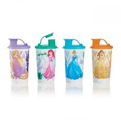 Tupperware Disney Princess Tumblers:          Sip like royalty with  Rapunzel, Ariel, Cinderella and Belle.Set  of four 12-oz./350 mL tumblers with liquid-tight seals and flip-top spoutsIn  Hydrangea, Mango, Salt Water Taffy and Sea GreenArtwork  not covered by Limited Lifetime Warranty       Item:10120218000