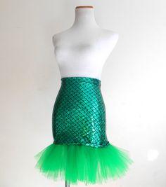 Green Mermaid Skirt Adult Halloween Costume by PlurAngelCollection