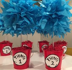 Thing 1 and Thing 2 Party centerpieces for by Dr Seuss Birthday Party, 1st Boy Birthday, First Birthday Parties, Dr Seuss Graduation Party, Birthday Ideas, Gold Birthday, Dr. Seuss, Dr Seuss Party Ideas, Dr Seuss Baby Shower Ideas