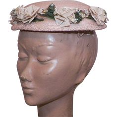 Vintage 1950's Light Pink Straw Hat With Silk Roses from KLM Antiques on RubyLane.com