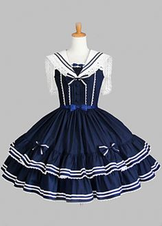 Ink Blue Sleeveless Sweet Cotton Lolita Dress