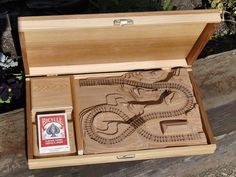 Items similar to Wooden Railroad Cribbage Board Gift Set - Alder on Etsy Wooden Puzzle Box, Wooden Puzzles, Wooden Cribs, Wooden Toys, Wooden Board Games, Michaels Craft, Cribbage Board, Bicycle Playing Cards, Family Game Night