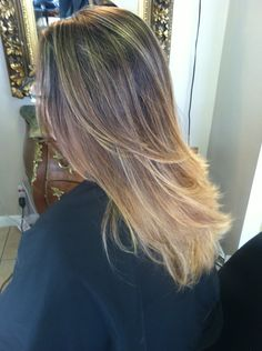 Ombre with highlights pulled to the root