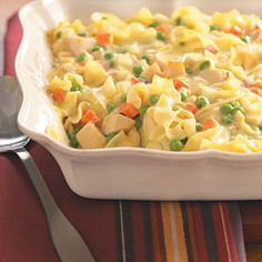 Creamy Chicken Casserole-tastes like chicken noddle soup, but more filling. This looked & smelled wonderful; but its very very bland(and i even added to it). Will not be making again.