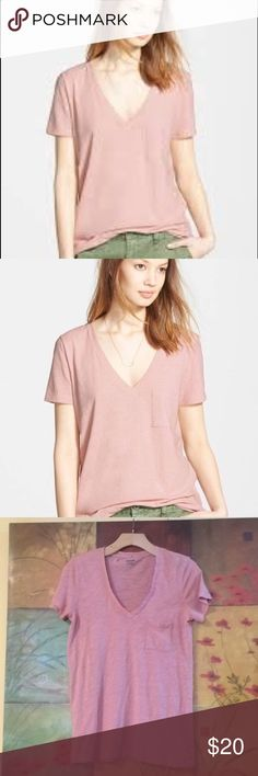 """MADEWELL """"Whisper"""" V-Neck Pocket Tee in Blush The best selling pocket Tee (formerly called Slub V-neck Pocket Tee) is the kind of forever favorite you'll want in every color. Fashioned of light and airy alubias cotton, this V-neck T-shirt is live-in-it soft and perfectly draped-one to tell your friends about, in other words. Size XS. 14"""" across shoulder, 16"""" across chest, 26"""" long. True to size, according to brand's website. Madewell Tops Tees - Short Sleeve"""