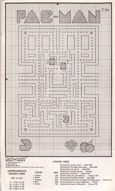 Pac-Man cross stitch patterns