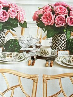 "Society Social in @BRIDES magazine -- Carolina Herrera's ""Dream Tablescape"" including Charlotte Moss fine china, Quadrille wrapped centerpiece vases... and more!"