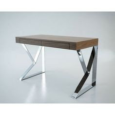 Features:  -Geometric polished stainless steel legs.  -Smooth table top.  -Two concealed front panel drawers.  Desk Type: -Writing desk.  Top Finish: -Brown.  Top Material: -Manufactured Wood.  Base M