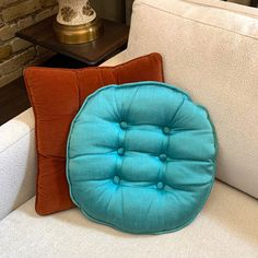 Mid century tufted pillow now in Etsy! {square is sold} Aqua, Teal, First Photo, Decorative Pillows, I Shop, Mid Century, Throw Pillows, Texture, Fabric