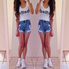 Some vans.... not converse!!! But I love the high waisted shorts paired with the graphic tee!!! ♥