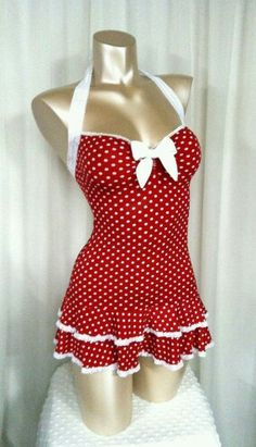 Items similar to Polka Dot Mini Dress, Sweetheart Neckline, Double Ruffle Hem, Halter Straps Bombshell Sz S/M/L on Etsy Red/White Polka-dot One Piece Swim Suit Rockabilly Dress Vintage Outfits, Vintage Dresses, Vintage Fashion, Vintage Shoes, Vintage Closet, Vintage Wardrobe, Retro Shoes, Vintage Lingerie, Pin Up Vintage