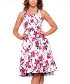 Loving this White Rose Halter Dress - Women & Plus on #zulily! #zulilyfinds