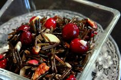 Cranberry Wild Rice Salad- fresh cran simmered in OJ rosemary thyme and pumpkin pie spices, ANY: celery,shallot, apple or mushrooms, OJ, minced parsley, rosemary, thyme, almonds, walnuts or pecans,