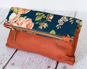 leather bag,leather clutch,foldover clutch,foldover bag,boho floral pouch,terracotta,blue navy,leather clutch,handmade bag