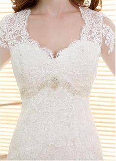 Elegant Tulle V-neck Neckline Mermaid Wedding Dresses With Beaded Lace Appliques US 4