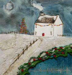 'Deck the hall with bells and holly....'' by Louise O'Hara of DrawntoStitch www.drawntostitch.com