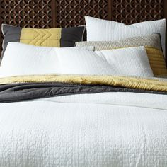 paired with patterned pillows and throws etc. Organic Braided Matelasse Duvet Cover + Shams   West Elm