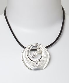 Take a look at this Brushed Silver & Pearl Swirl Pendant Necklace on zulily today!