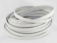 1 m Lederband flach 10 x 2 mm, weiss