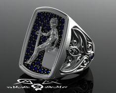 For my soldier: Blue sapphire soldier guardian cherub angel 2oz by DeMerJewelry